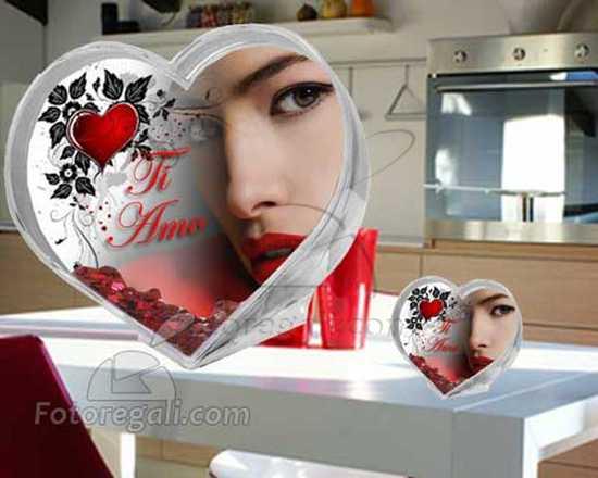 Palla di neve cuore con foto