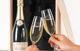 Set regalo Champagne con bicchieri incisi